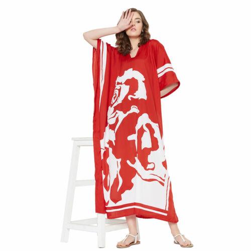 Women Kaftan Kimono Dress Summer Beach Wear Cover-Up Plus Size Long Maxi Dress