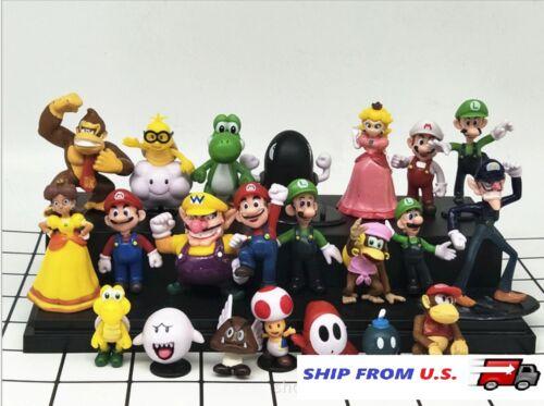 NEW 22 x Mario Bros figure Toy Luigi Yoshi princess Peach Donkey Kong Toad Wario