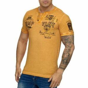 Uomo-T-Shirt-Giallo-Vintage-Scollo-a-V-Uomo-Maglia-Giallo-Slavato-john-kayna
