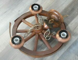 Wagon Wheel Hanging Light Vintage Wood & Copper Tone Parts Fixer Upper Western