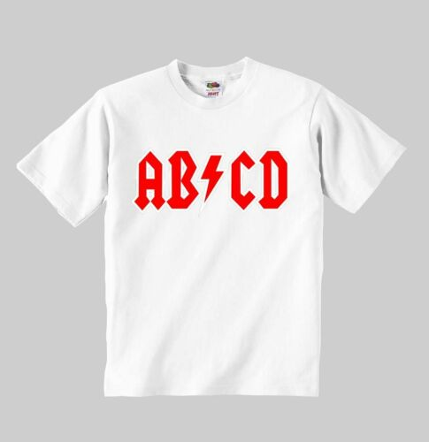 ab cd t-shirt acdc ac//dc toddler clothing kid shirt for children size:1-8 y
