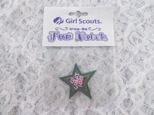 """Girl Scouts of America /""""GS Great Job!/"""" Star Iron-on Patch New!"""