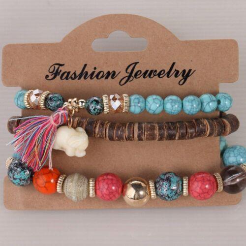 3Pcs//set Fashion Multilayer Elephant Resin Wood Beads Tassel Bracelets for Women
