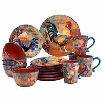 Certified International Rustic Rooster (16 Pc) Dinnerware Set Fast Shipping