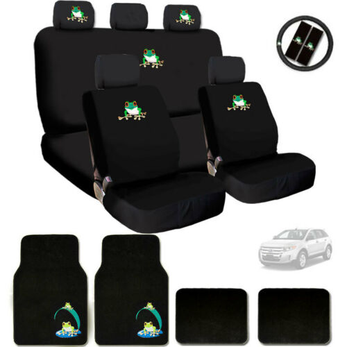 For Ford New Semi Custom Frog Logo Car Seat Covers Steering Wheel and Mats Set
