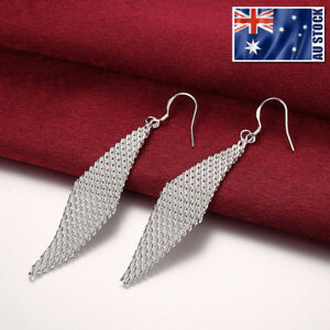 New-925-Sterling-Silver-Filled-Gorgeous-Long-Rhombus-Vintage-Dangle-Earrings