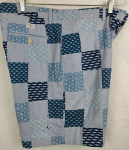 Vineyard-Vines-Men-039-s-Patchwork-Shorts-Blue-Size-36x8-Stain-Flaw-See-pics