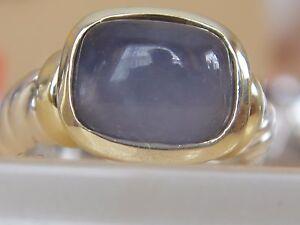 $650 David Yurman 14/k, Argent Sterling Bleu Calcédoine Petite Noblesse Ring Sz 7-afficher Le Titre D'origine Saveur Aromatique