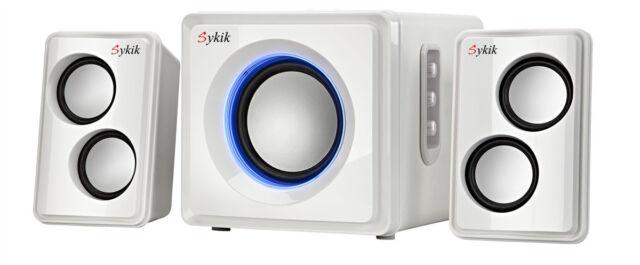 Sykik Sound Bluetooth Wireless SP0232WE 2.1 Ch Multimedia Speaker System White