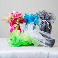27 Circle Organza Wine Bottle Vase Wrap Gift Box Favor Wrapper & Tassel, 12 Pcs