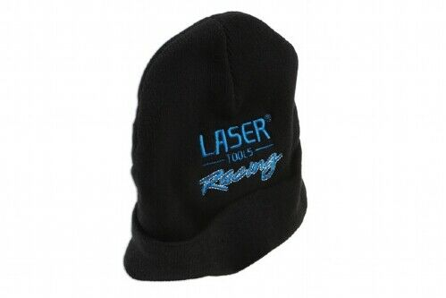 Keep Warm with the Laser Tools Racing Beanie Hat Black with Logo
