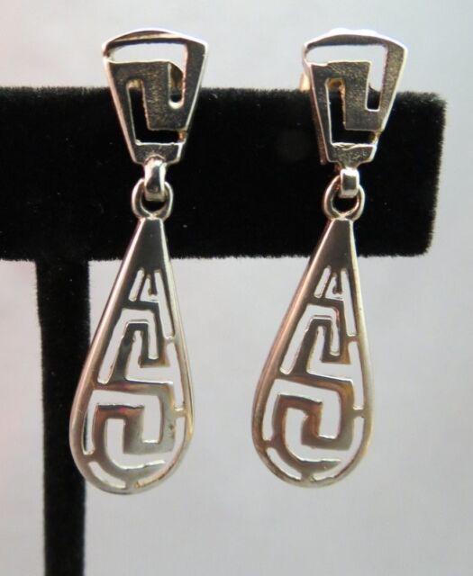 """Sterling Silver Greek Key Dangle Earrings Fancy Open Work 1.5"""" Long 4.4 Grams"""