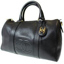 CHANEL CC Logos Boston Hand Bag Black Caviar Skin Leather Vintage Auth #9623 M