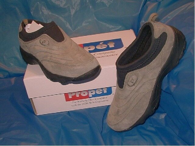 Propet, Womens Gunsmoke Suede leather Slip-onWalking shoes 7 1 2 W ( D )
