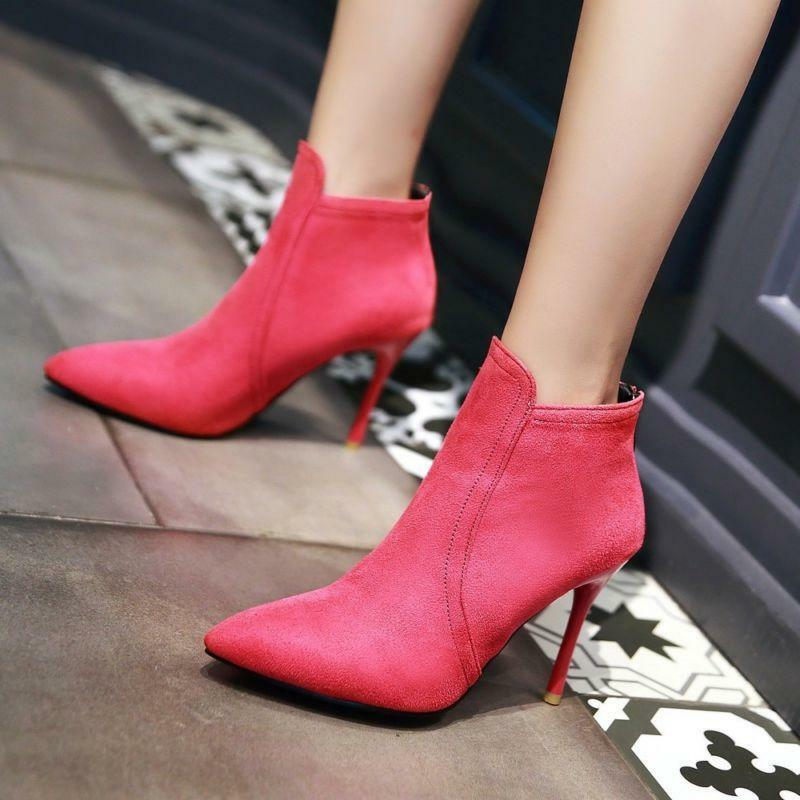 Sexy Womens Stiletto High Heels Ankle Boots Pointy Toe Faux Suede Clubwear shoes