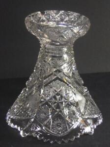 Antique-Vintage-Punch-Bowl-PEDESTAL-Base-Large-8-034-Heavy-Sparkling-pressed-glass