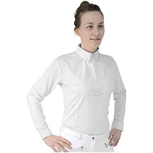 White Small Hyfashion Ladies Dedham Long Sleeved Tie Shirt