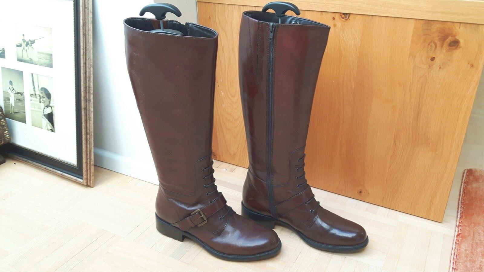 Lederstiefel Schnürrstiefel Gr. 39 Leder Stiefel Schnürrung  Schnürrstiefel Lederstiefel braun, Absatz 3 cm ea0c12