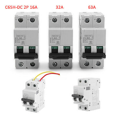 Electrical Circuit Breaker 16A Miniature Low-voltage C65H-DC 2P 250V DC Solar Panels Grid System Din Rail Mounted for Household Devices and Tools