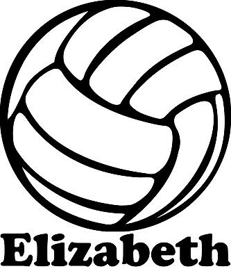 VOLLEYBALL with Personalized Name Vinyl Decal Sticker Indoor Beach Grass Serve