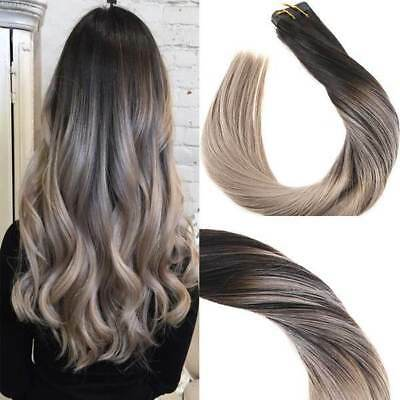 Tape In Black To Ash Blonde Balayage Skin Weft Human Hair Extensions 40pcs100g Ebay