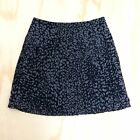 Ann Taylor LOFT Pleated Career Skirt Women's Sz 2 Leopard Print Black Gray Lined