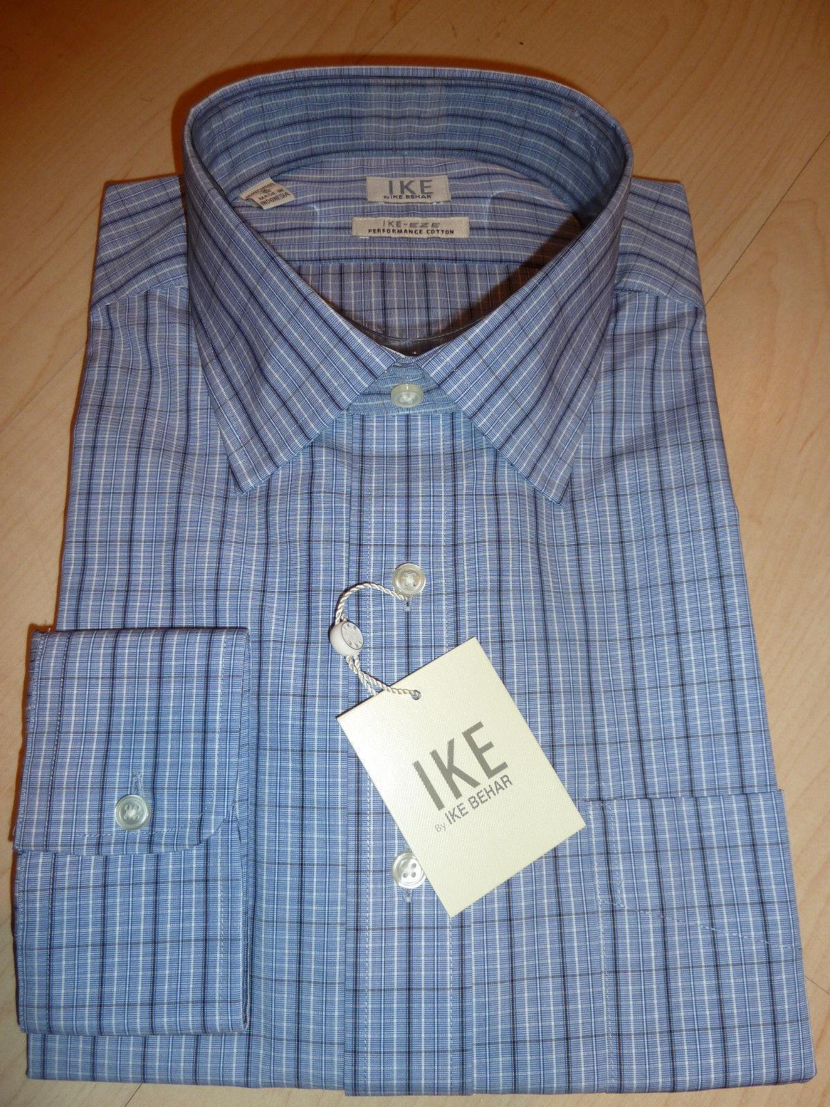 NEW 190 IKE BEHAR  Herren SHIRT Sz 16 35 EZE Performance Cotton Blau Ocean BC