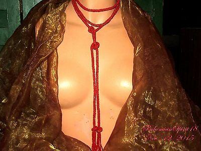ANTIQUE ART DECO RED SAUTOIR CZECH GLASS BEADS 68''L TASSEL FLAPPER NECKLACE