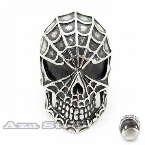 New Men's Spider Skull 316L Stainless Steel Biker Ring Size 7,8, 9,10,11,12,13