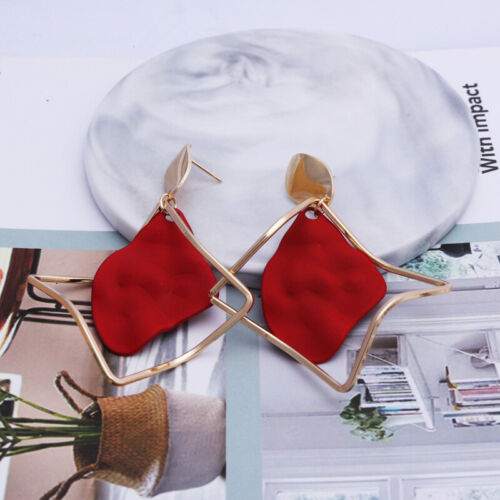 Earrings Leaf Wedding Jewelry Stud Statement Red Drop NEW Party Dangle Fashion