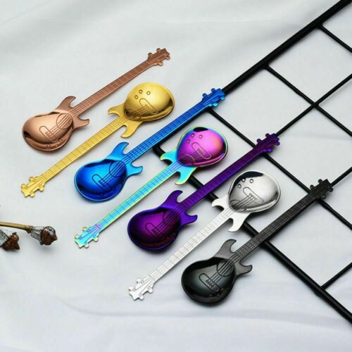 Stainless Steel Coffee Spoon Guitar Shaped Tea Ice Cream Tableware Cutlery New