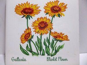 "Vintage MESQUAKE SETTLEMENT Decorative Tile Gaillardia BLANKET FLOWER 6"""