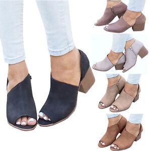 63656ebfa Womens Mid Block Heel Open Peep Toe Boots Zipper Chunky Mule Ankle ...