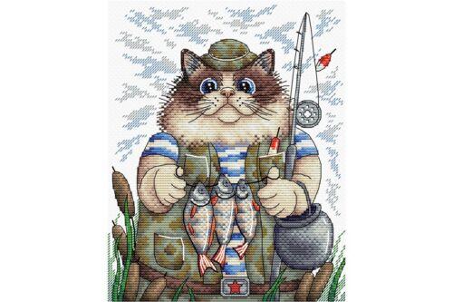 Cross stitch kit Fishing cat M-215