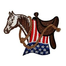 ID 1095 Patriotic Saddle Horse Flag Rodeo Western Embroidered Applique Patch