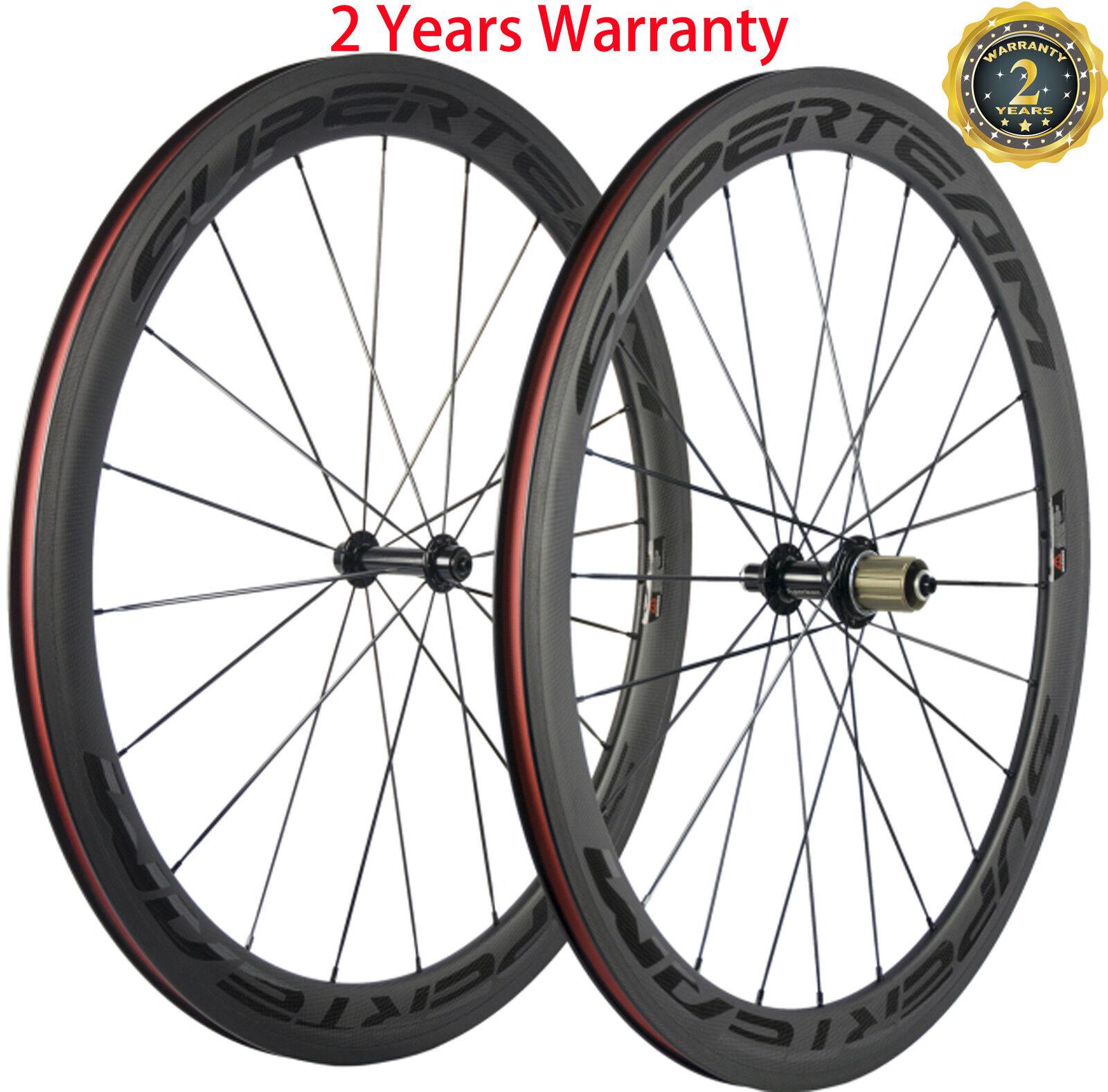 50mm Clincher Bicycle Wheelset Full Carbon Fiber Wheelset 700C Shimano 3K Matte