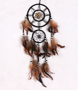 Brown-Dream-Catcher-With-feathers-Wall-Hanging-Decoration-Decor-Ornament-Gift-S2