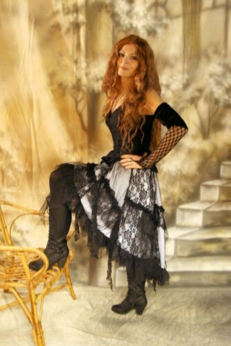 DARK Dreams Gothic Burlesque Steampunk RUFFLE-skirt rock GINGER BIANCO WHITE NUOVO