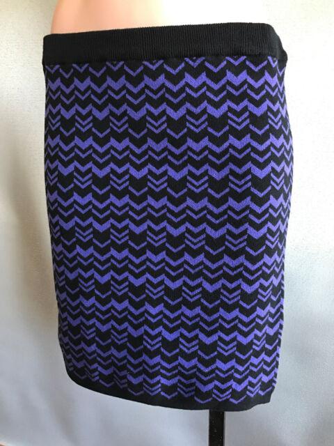 BNWT Ladies Sz M 12 Mix Brand Chevron Print Soft Stretch Knit Winter Mini Skirt