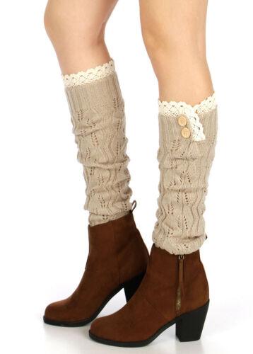 Women/'s Lace Button Trim Leg Warmers Winter Crochet Knit Boot Socks Cuffs Topper