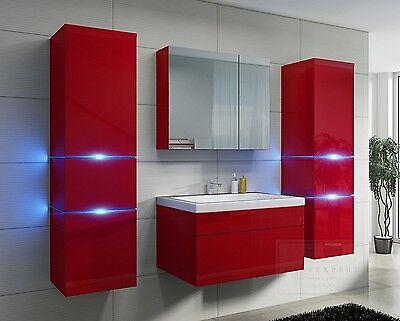 Sehr Badmöbel Set Prestige 100% ECHT LACKIERT Keramik Rot Hochglanz LED SD65