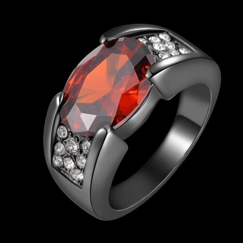 Taille 8,9,10,11,12 Solitaire Rouge Grenat Fashion Noir 18K Gold Filled homme anneaux