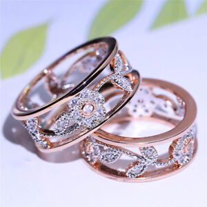 Rose Gold Lucky Flower Ring Diamond Jewelry Ring Engagement