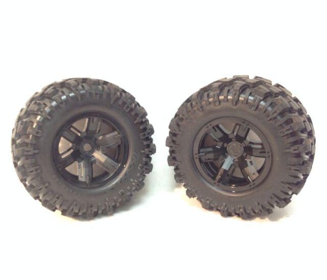 2 Traxxas 8S 1/5 X-Maxx AT Tires Black Wheels Assembled Glued 7772X / 6s Upgrade