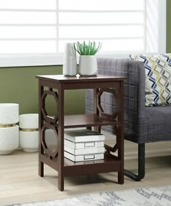Details about Small End Table With Storage Shelves Chair Side Living Room  Furniture Espresso