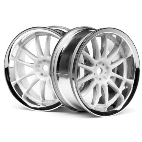 Sprint 2//E10//Nitro3 HPI 3283 Work XSA 02C Wheel 26mm Chrome//White 3mm Offset 2