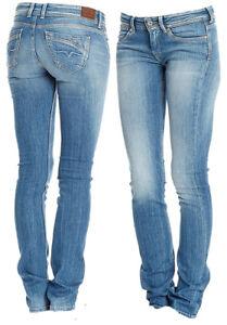 Detalles de Pepe Jeans Vaqueros Mujer Nueva Perival Regular Denim Stretch Delgado Leg Azul