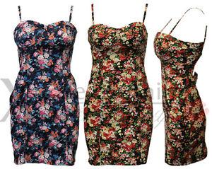WOMENS-LADIES-NAVY-BLACK-FLORAL-STRAP-CUT-OUT-BACK-DRESS-PADDED-BRA-VEST-DRESSES