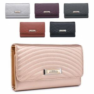 Ladies-Quilted-Faux-Leather-Purse-Designer-Girls-Wallet-Handbag-Boxed-M04A-358