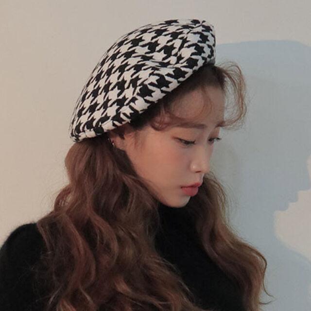 3e19ddc73bc203 Mori Girls Hat Houndstooth Beret Handmade Lolita Wool Blend Painter Beanies